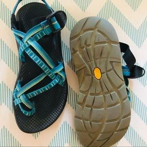 Blue chacos size 7